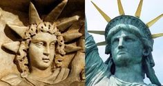 "Lady Liberty modeled after the same goddess known as Isis (who was also Venus, Aphrodite, Ishtar (the wife of the false god, Baal) and Semiramis, the mother of Tammuz (the T was the original ""cross""). That is why the Bible refers to Babylon the Great as the Harlot of false religion. Revelations chapter 18"