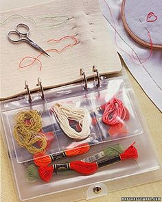 """Project Organizer: Keep the needles and threads you're using neatly sorted. Fill a clear loose-leaf binder with plastic pocket envelopes to hold various threads, small scissors, patterns, and instructions. Make a """"page"""" of heavy felt to hold needles. Embroidery Thread, Cross Stitch Embroidery, Embroidery Patterns, Embroidery Floss Storage, Embroidery Supplies, Sewing Hacks, Sewing Crafts, Sewing Projects, Sewing Kit"""