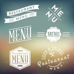 Restaurant Menu Labels - Decorative Symbols Decorative
