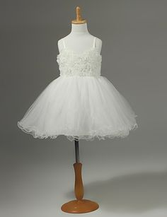 Chiffon Flower Girl Dress With Flowers.