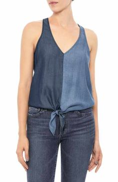 Two hues of chambray create a cool color-blocked effect on a nicely draped tank styled with a cute tie hem and sleek racerback. Kurta Designs, Blouse Designs, Refaçonner Jean, Denim Fashion, Fashion Outfits, Denim Ideas, Couture Tops, Casual Tops For Women, Clothing Hacks