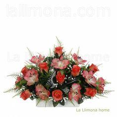 Ramos artificiales cementerios y jardineras Todos los Santos. Jardinera cerámica rosas alstroemerias artificiales salmón 30