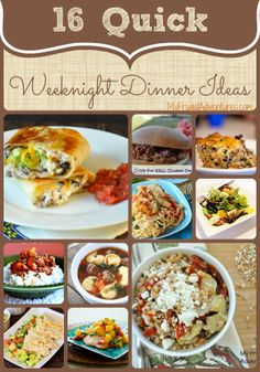 Quick Weeknight Dinner Ideas. Lots of ideas for quick and easy family dinners. #EasyDinners #Recipes