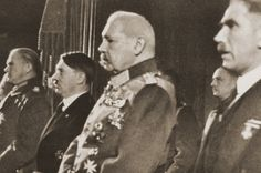 Members of the German leadership attend a ceremony honoring German soldiers killed in World War I at the National Opera in Berlin. Pictured from right to left are: Franz von Papen, Paul von Hindenburg, Adolf Hitler and Werner von Blomberg. Franz Von Papen, Key Stage 3, Ap World History, British Prime Ministers, History Projects, World War I, Wwii, Poses, Weimar