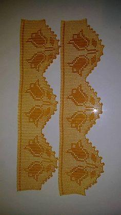 Sarı lale desenli dantel havlu kenarı