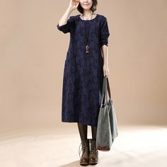Blue Cotton Linen Casual Long Sleeve