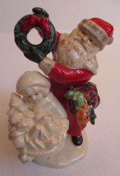 Russ Berrie Santa Claus St. Nicholas & Child crackle figurine Noel 16861 by UrbanVintageChic on Etsy
