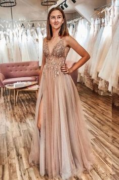 Buy A Line Tulle V Neck Applqiues Prom Dresses With Slit, Spaghetti Straps Long Formal Dresses online.Shop short long ombre prom, homecoming, bridesmaid evening dresses at Couture Candy Cocktail party dresses, formal ball gowns in ombre colors. Pretty Prom Dresses, A Line Prom Dresses, Tulle Prom Dress, Elegant Dresses, Dresses Dresses, Quinceanera Dresses, Wedding Dresses, Long Dresses, Homecoming Dresses Long