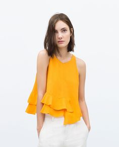 ZARA - NEW THIS WEEK - TOP WITH FRILLED HEM