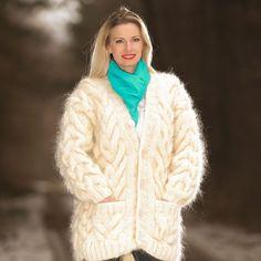 NEW Cable Hand Knit Mohair Coat IVORY V neck Cardigan by SUPERTANYA #SUPERTANYA #BasicCoat