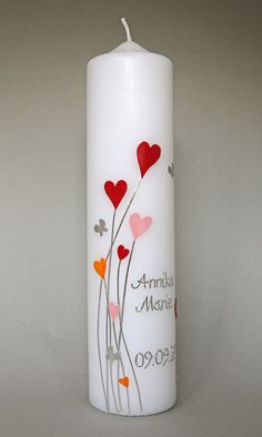 Christening candle hearts Playful lightness is conveyed by this candle. Hearts and little silver butterflies are arranged so that the candle does not - - Photo Candles, Diy Candles, Pillar Candles, Candle Art, Bedroom Murals, Candlemaking, Diwali Decorations, Baby Shower Cards, Christening