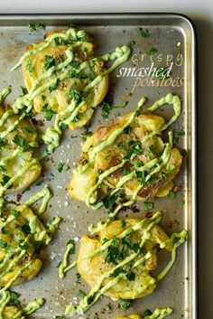 Crispy Smashed Potatoes with Avocado Garlic Aioli by ohsheglows #Potatoes #Avocado #Garlic