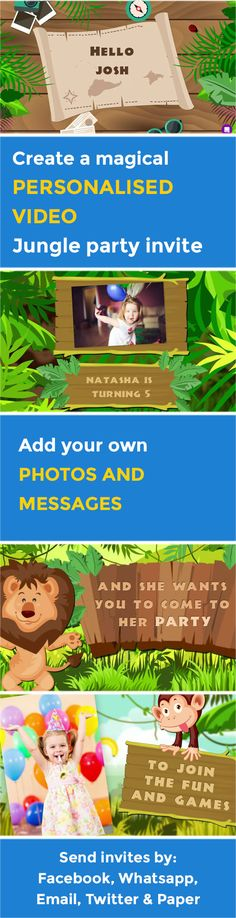 Create your own magical Jungle VIDEO party invitation - www.poshtiger.co Online Birthday Invitations, Party Invitations Kids, Invites, Jungle Video, Jungle Party, Boy Birthday Parties, Party Planning, First Birthdays, Party Ideas