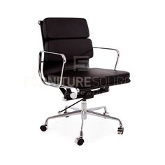 Eames Style Soft Pad Low Back 2 Pad Office Chair - Castors -Full Italian Leather #FSW #Contemporary