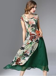 Polyester Animal Cap Sleeve Mid-Calf Vintage Dresses (1028933) @ floryday.com