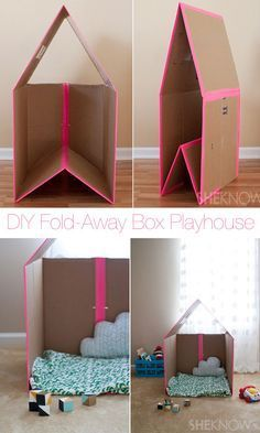 DIY folding cardboard play house you are in the right place for diy kid room ideas . - DIY folding cardboard play house You are in the right place for diy kid room ideas childs bedroom H - Cardboard Box Playhouse Diy, Diy Cardboard, Cardboard Box Ideas For Kids, Cardboard Castle, Cardboard Box Houses, Playhouse Ideas, Indoor Playhouse, Cardboard Recycling, Crafts With Cardboard Boxes