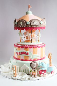 Carousel Cake #2 - by guiltdesserts @ CakesDecor.com - cake decorating website