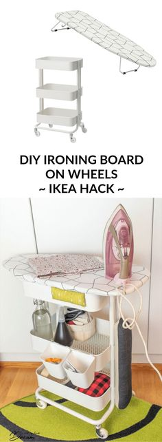 Ironing board on wheels: Your sewing room needs this. Rolling ironing station with storage. IKEA Hack with the RÅSKOG cart + JÄLL ironing board.