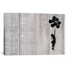 "Flying Balloons Girl // Canvas Print (26""L  x 18""W)"