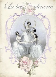 Vintage ballet dancers digital collage p1022 Free to use <3