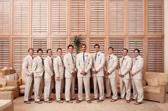 The groomsmen getting ready for the big day. Destination wedding in sunny Longboat Key. Photo via Fab Your Bliss.