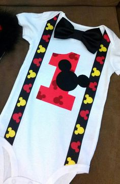 Braxtin's Birthday Outfit! Etsy listing at https://www.etsy.com/listing/218521082/mickey-mouse-1st-birthday-onesie-top