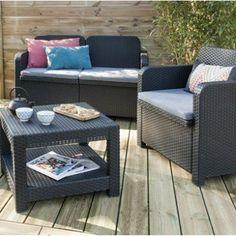 Salon de jardin Sorrento GRAND SOLEIL : canapé, 2 fauteuils, table, anthracite | Leroy Merlin
