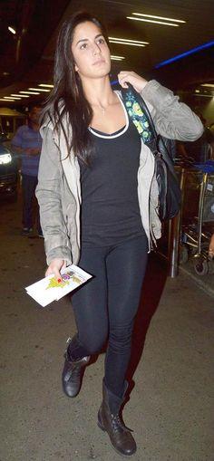 Katrina Kaif at the Mumbai airport. #Bollywood #Style #Fashion