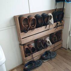 Homemade Shoe Rack, Shoe Storage Pallet, Wall Mounted Shoe Rack, Shoe Cupboard, Shoe Storage Solutions, Wooden Shoe Racks, Apple Crates, Farm Shop, Kiln Dried Wood