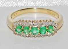 9ct yellow gold Emerald & Diamond ring. Size K (uk) - 5 1/8 (usa) - Ring sizing details Below . Ring sizing service available, at cost price of £18.00, larger increases of 3 sizes or more will be an extra £7.00. | eBay!