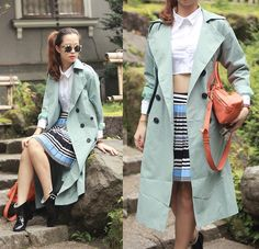 Front Row Shop Blue Trench Coat, Choies Crop Shirt, Front Row Shop Pleated Skirt