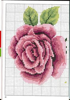 This Pin was discovered by Ali Cross Stitch Rose, Cross Stitch Flowers, Cross Stitch Charts, Cross Stitch Designs, Cross Stitch Patterns, Embroidery Patterns Free, Beading Patterns, Ribbon Embroidery, Cross Stitch Embroidery