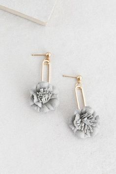 Perfect Peony Dangle Earrings | Gray $12