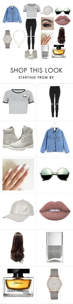 """Grey"" by blossomtopgirl on Polyvore featuring WithChic, Topshop, Timberland, Quintess, Revo, River Island, Lime Crime, Nails Inc., Dolce&Gabbana and DKNY"