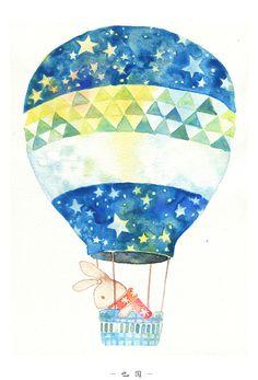 air ballon 2 #watercolor