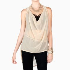 Sheer Cowl Cut Out Back Top - so cute!