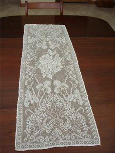 """Elegant Vtg Lace Dresser Scarf Iris Off White 42""""x14"""" Table Runner Delicate Fine"""