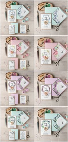 Watercolor floral wedding invitations #spring #colorful #floral #flowers #wreath #pastel #wedding #invitations #rustic