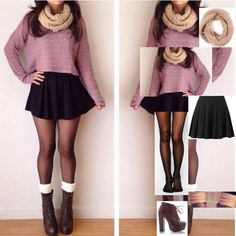 OOTD: Purple sweater and skater skirt, tumblr inspired outfit ...