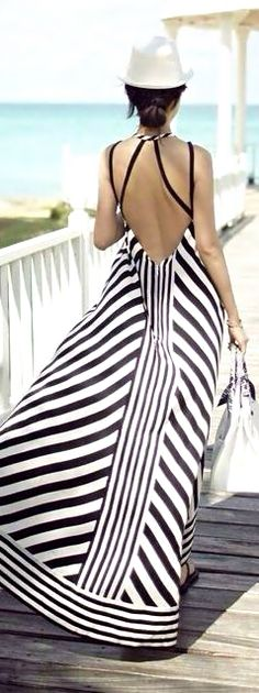 Black and white striped summer maxi.