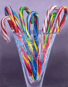 """""""Candy Canes"""" - by Sarah Sartain. Water Drawing, Food Drawing, Food Illustrations, Illustration Art, Chocolates, Sweets Art, Image Pinterest, Food Art For Kids, Food Painting"""