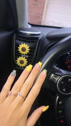 Nails Gray and Yellow Acrylic Nail DesignGray and Yellow Acrylic Nail Design Yellow Toe Nails, Yellow Nails Design, Grey Nail Designs, Acrylic Nail Designs, Pink Nails, Dry Nails, Shellac Nails, Acrylic Dip Nails, Acylic Nails