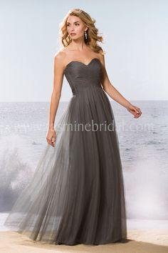 """Jasmine Bridal Bridesmaid Dress Belsoie Style L174062U in Iron // Simple, sexy, and tasteful, this bridesmaid dress is the perfect choice for any occasion. This Soft Tulle gown features a youthful strapless sweetheart neckline, an A-line skirt, and strategically placed cut-outs on the bodice. This is the """"U"""" version with no bodice cut-outs."""
