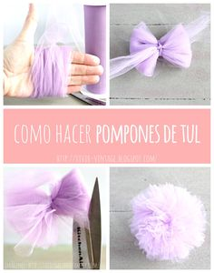 Best 12 Production of pompons and tulle! Production of pompons and tulle – SkillOfKing. Pompom En Tulle, Tulle Poms, Pom Poms, Tulle Tutu, Felt Flowers, Diy Flowers, Fabric Flowers, Paper Flowers, Diy And Crafts