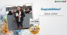 Congratulations on winning the lunch coupon. Have a great meal! #UnitedTax#2016 #Contest