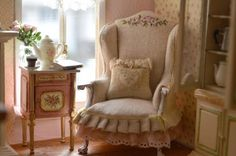 Love the wingback chair Cynthia's Cottage Design Pink Dollhouse, Dollhouse Miniatures, Miniature Furniture, Dollhouse Furniture, Barbie Furniture, Home Furniture, Cottage Design, Wingback Chair, Sofa