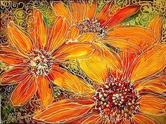 Sunflower Batik ~ by Artist Marcia Baldwin Fabric Painting, Fabric Art, Cow Painting, Vincent Van Gogh, Batik Art, Artist Portfolio, Textile Artists, Painting Techniques, Watercolor Paintings