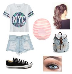 """""""NYC Outfit"""" by mimzopimzo ❤ liked on Polyvore featuring Aéropostale, Converse, River Island, white, Newyork and NYC"""