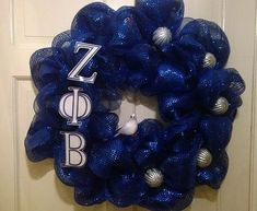 Shop for zeta phi beta on Etsy, the place to express your creativity through the buying and selling of handmade and vintage goods. Phi Beta Sigma, Alpha Xi Delta, Kappa, Sorority Gifts, Sorority And Fraternity, Greek Crafts, Deco Mesh Wreaths, Greeks, Blue And White