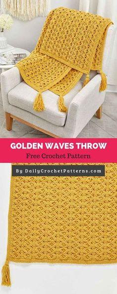 Golden Waves Throw Free Crochet Pattern blanket patterns unique 50 Versatile And Unique Free Crochet Patterns – DIY Rustics … Crochet Afghans, Gilet Crochet, Tunisian Crochet, Afghan Crochet Patterns, Baby Knitting Patterns, Crochet Blankets, Crochet Throw Pattern, Crochet Ripple, Crochet Stitches